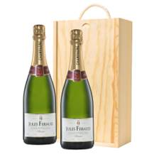 Buy & Send Jules Feraud Brut Champagne 75cl Two Bottle Wooden Gift Boxed (2x75cl)