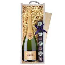 Buy & Send Krug Grande Cuvee Champagne & Truffles Wooden Box