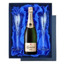 Buy & Send Lanson Gold Label Vintage 2008 Champagne 75cl in Blue Luxury Presentation Set With Flutes