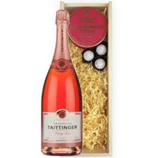 Buy & Send Magnum of Taittinger Rose Champagne 150cl And Strawberry Charbonnel Truffles Magnum Box