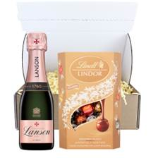 Buy & Send Mini Lanson Le Rose Champagne 20cl And Chocolates In Postal Box