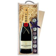 Buy & Send Moet & Chandon Brut with Truffles in Wooden Box - Champagne and Chocolates