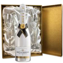 Buy & Send Moet and Chandon Ice White Imperial 75cl in Burgundy Presentation Set With Flutes