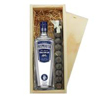 Buy & Send Plymouth Gin 70cl & Truffles Wooden Box