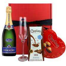 Buy & Send Pommery Brut Royal Champagne 75cl, Flute And Heart Chocolates Gift box