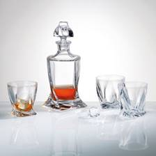 Buy & Send Bohemia Quadro Crystal Decanter Set with 6 Matching Quadro Glasses