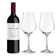 Buy & Send Rhino Tears Red 75cl And Crystal Classic Collection Wine Glasses