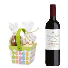 Buy & Send Rhino Tears Red 75cl With Easter basket filled with Belgian chocolate eggs and mallows
