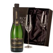 Buy & Send Taittinger Brut Vintage 2013 Champagne 75cl With Swarovski Crystal Flutes