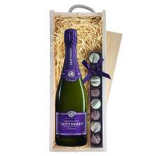 Buy & Send Taittinger Nocturne NV Champagne, 75cl & Heart Truffles, Wooden Box