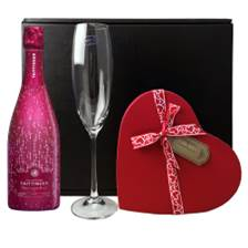 Buy & Send Taittinger Nocturne Rose City Lights Edition Champagne, Flute And Valentine's Chocolates Gift box