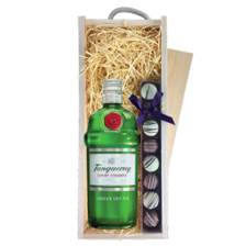 Buy & Send Tanqueray Dry Gin 70cl & Truffles, Wooden Box