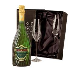 Buy & Send Tsarine Premier Cru Brut Champagne 75cl With Swarovski Crystal Flutes