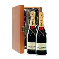 Buy & Send 2 x Moet & Chandon Brut Double Luxury Gift Boxed Champagne