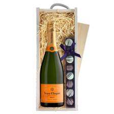 Buy & Send Veuve Clicquot Yellow Label Brut Champagne 75cl & Truffles, Wooden Box