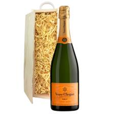 Buy & Send Veuve Clicquot Yellow Label Brut Champagne 75cl In Wooden Sliding Lid Gift Box