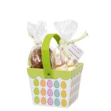 Buy & Send Large Easter basket filled with decorated Belgian milk chocolate eggs and mallows 6x325g