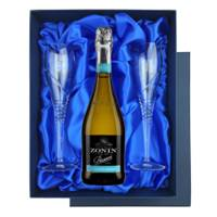 Buy & Send Zonin Prosecco Cuvee DOC 1821 in Blue Luxury Presentation Set With Flutes